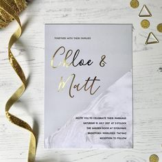 Getting lots of love for this gold foil wedding invitation collection this week Now also available in rose gold foil ✨ Order a sample - https://www.polkadotpaper.com/product/golden-grey-sample-pack/