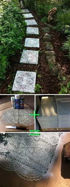 DIY Pathway With Lace Like Stepping Stones.