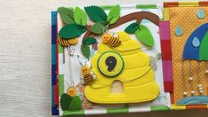 """Beehive"" quiet book pageQuiet book page with a sliding, counting and maze activities. The size of the page is cm.Little Pages Set 1 FELT ACTIVITY Cards Quiet Book PDF Pattern – Toddler quiet Diy Busy Books, Diy Quiet Books, Baby Quiet Book, Felt Quiet Books, Quiet Book Templates, Quiet Book Patterns, Silent Book, Fathers Day Crafts, Toddler Books"