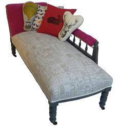 Chaise Longue/ painted furniture/ distressed/ by KitschAttic