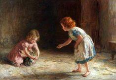 Playtime ~ Hugh Cameron (1835 – 1918, Scottish) I AM A CHILD-children in art history-blog