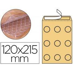 Bolsas acolchadas para el envío de artículos delicados, fabricadas en papel kraft con interior forrado de burbujas de aire.   Medidas: 120 x 215 mm.   Caja de 100 sobres.
