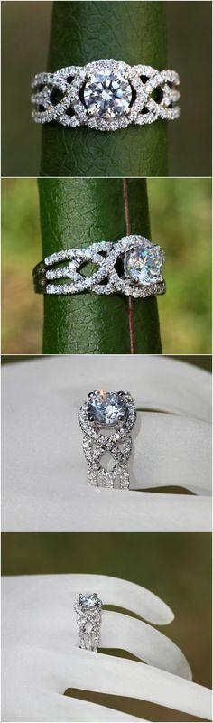 TWIST OF FATE - BeautifulPetra.com - .50 carat center Diamond Engagement Ring - 14k White gold - Halo - Unique - Swirl - Pave - Bp024 #haloring #halorings