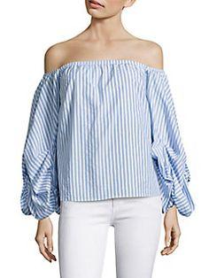 Petersyn - Hannah Cornflower Off-the-Shoulder Striped Blouse