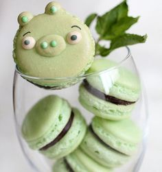 Angry Birds Mint Macarons! Cute!