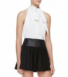 @Who What Wear - Alice + Olivia Aleena Ascot Silk Top ($297) in White  This white silk top will go perfectly with your favorite mini skirt.