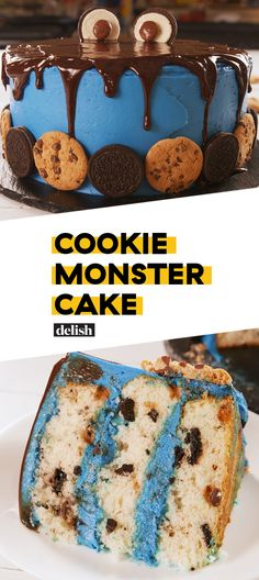 This is the most incredible Cookie Monster cake we've ever seen. Get the recipe at Delish.com. #sesamestreet #cookie #monster #cookiemonster #cake #baking #birthday #kids #birthdaycake #bday #delish #easyrecipe #recipe