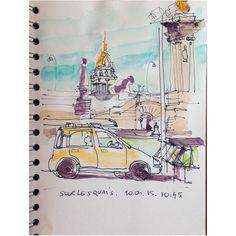 "#tbt sketching ""under"" Pont Alexandre III #sketch #skol2015 #usk #paris #watercolor #car"