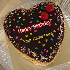 Write Name on Beautiful Chocolate Rose Birthday Cake.Chocolate Cake With Name.Print Custom Name on Designer Cake With Red Rose Topping.Floral Art Cake With Name Best Friend Birthday Cake, Heart Shaped Birthday Cake, Birthday Wishes With Name, Birthday Cake Greetings, Happy Birthday Hearts, Happy Birthday Cake Images, Happy Birthday For Him, Beautiful Birthday Cakes, Cool Birthday Cakes