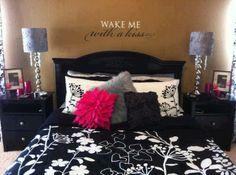 Striking color combination! #Black #white #fushia #bedroom #kiss #uppercaseliving