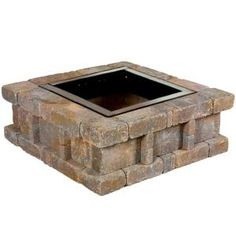 RumbleStone in. x 14 in. Square Concrete Fire Pit Kit No. 2 in Cafe, Café Wood Fire Pit, Fire Pit Bowl, Fire Pit Ring, Gas Fire Pit Table, Concrete Fire Pits, Wood Burning Fire Pit, Fire Pit Insert, Outdoor Stone Fireplaces, Fire Pit Materials