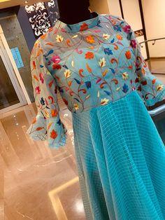 Floor length dress with floret lata design hand embroidery thread work. Salwar Designs, Kurta Designs Women, Kurti Designs Party Wear, Kurta Neck Design, Blouse Neck Designs, Anarkali, Lehenga, Kalamkari Dresses, Long Dress Design