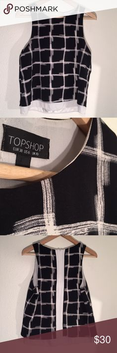 """TOPSHOP Geometric Print Blouse Excellent condition, back zip, two layers for a great fit and weight!  19.5"""" Neckline to hem; 18.5"""" Pit to pit Topshop Tops"""