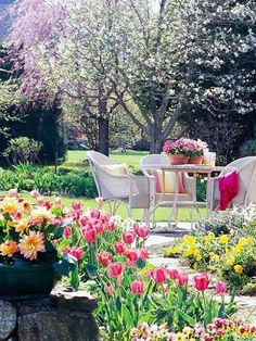 Patio Garden Country Garden Cottage garden Spring in the Garden One day maybe my garden will look like this. Outdoor Rooms, Outdoor Gardens, Outdoor Living, Outdoor Decor, Outdoor Ideas, Outdoor Furniture, Garden Cottage, Home And Garden, Rose Cottage