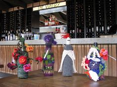 The Four Winners. Best Knitted, Best Crochet, Best cozie depicting local wine and the Most Outragous Cozie. Wine Bottles, Table Decorations, Crochet, Crafts, Home Decor, Wine Bottle Glasses, Manualidades, Decoration Home, Room Decor