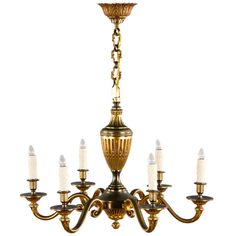 Louis XVI Style Gilded Bronze Chandelier | From a unique collection of antique and modern chandeliers and pendants  at https://www.1stdibs.com/furniture/lighting/chandeliers-pendant-lights/