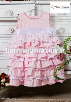 Vestido para menina rosa de babados com rendinha