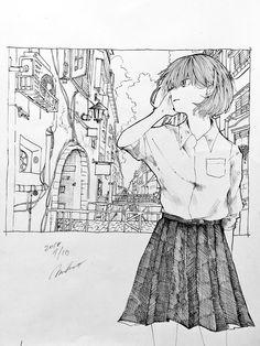 Anime Drawings Sketches, Anime Sketch, Art Drawings, Character Drawing, Character Design, Animes Wallpapers, Anime Art Girl, Art Sketchbook, Ink Art