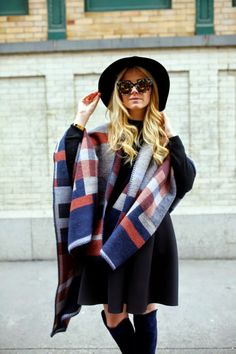 A plaid cape is the perfect piece for fall.
