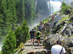 """The Mist Trail, Yosemite National Park, California. This trail give you a great view of Nevada Falls in early Summer. But the real view is the """"rain storm"""" you get as you scale the steps next to Vernal Fall. Talk about """"Mist"""", It's amazing"""