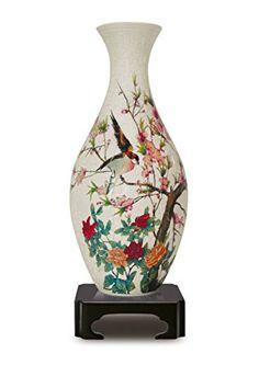 Puzzle 3d jarrón chino flores y pájaro