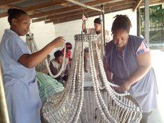 Ladies making chandis for Restoration Hardware!