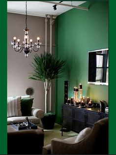 #tv room #emerald walls  #summer house #green #emerald