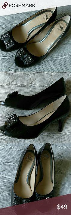 New Nurture Studded Bow Heels New Nurture Studded Bow Peep Toe Heels Nurture by Lamaze Shoes