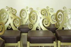 Elegant design chair made out of fiber glass.