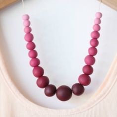 DIY Ombre Polymer Clay Beaded Necklace.  Costs less than $5 to make!