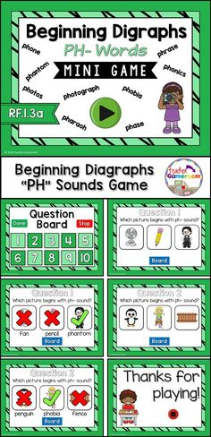 Practice spelling ph digraphs words with this smartboard game. 10 questions makes it great practice for small groups, ELA, or word work centers. CCSS aligned!
