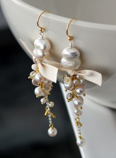 Long pearl earrings with vermeil and sterling by SirpaKJewelry