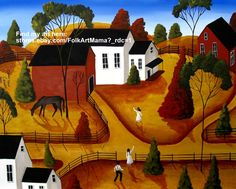 """""""Golden Afternoon"""" painting folk art landscape red barn horse country road trees"""