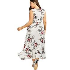 0d529dbef6e GIYI Plus Size Floral Print Beach Maxi Long Dress Summer Sexy V Neck Boho  Wrap Tank Sundress
