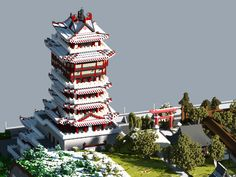 Tower Yue Wang Minecraft project Source by Minecraft Japanese House, Minecraft House Plans, Minecraft Modern, Minecraft Castle, Minecraft Houses Blueprints, Cool Minecraft, Minecraft Creations, Minecraft Designs, Japanese Castle