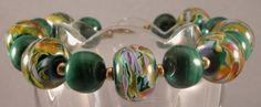 Handmade bracelet, artisan lampwork, malachite and gold filled, purple | cserpent - Jewelry on ArtFire
