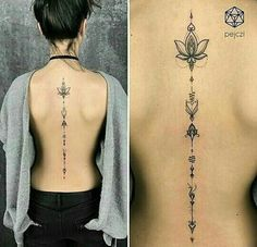 Back tattoo - Ink - Tattoo Lotusblume Tattoo, Tattoo Son, Unalome Tattoo, Tattoo Life, Body Art Tattoos, Woman Tattoos, Dot Tattoos, Back Tattoo Women Spine, Back Tattoos Spine