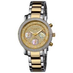 Women's Akribos XXIV AK440YG Diamond Chronograph Two-tone Stainless Steel Watch - FREE DIAMOND CHAIN LINK WATCH INCLUDED WITH PURCHASE #stainless #steel #watch #tone #chronograph #akribos #xxiv #diamond #womens