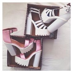 pink shoes white shoes cleated sole cleated sole platforms high heels pink high heels grunge accessory grunge shoes platform shoes platform high heels heels pink heels white heels soft grunge metallic shoes