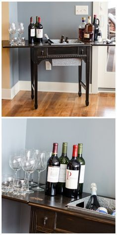 How to Make a Bar Cart from a Sewing Machine Table - an old sewing machine was removed from its cabinet, replaced with a galvanized bin, giving a dated piece a totally new and improved look and purpos