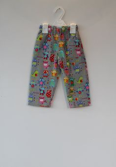 Cute monsters pull up trousers  for a one year old and two year old. by DottyBirdKidsClothes on Etsy