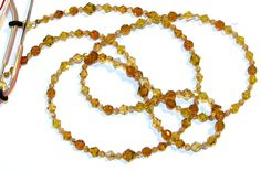 Topaz Yellow and Orange Red Faceted Beaded Eyeglass Chain / ID Badge Lanyard  by nonie615, $18.00