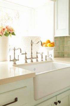 kitchen #sink Kitchen Sink ~ Farmhouse sink with a bridge faucet. Perfection.