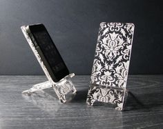 Phone Stand and Docking Station for iPhone 5, iPhone 4 and 4S - Victorian Damask Pattern on Etsy, $24.00