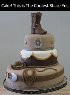 Cowboy cake idea (or cowgirl cake!). Wow! Source unknown.