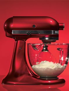KitchenAid mixer in candy apple red