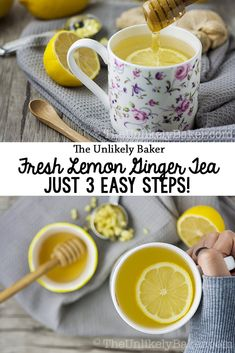 This step-by-step guide on how to make fresh lemon ginger tea is. This step-by-step guide on how to make fresh lemon ginger tea is quick and easy plus this tea is delicious and good for you! Easy Drink Recipes, Drinks Alcohol Recipes, Lemon Recipes, Non Alcoholic Drinks, Tea Recipes, Coffee Recipes, Fun Drinks, Yummy Drinks, Healthy Drinks