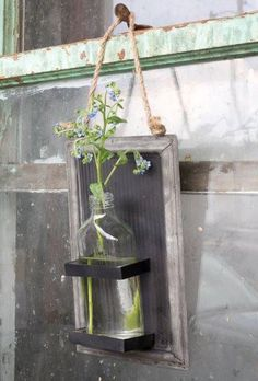 Vintage Dark Metal Hanging Bottle Vase