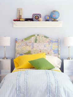 cute idea - using map decoupage on furniture!