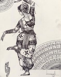 Dance Paintings, Indian Art Paintings, Art And Illustration, Figure Painting, Painting & Drawing, Abstract Pencil Drawings, Ballpoint Pen Art, Dancing Drawings, Cement Art